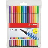 Meer informatie over Stabilo Pen 68 viltstiften - 15 stuks